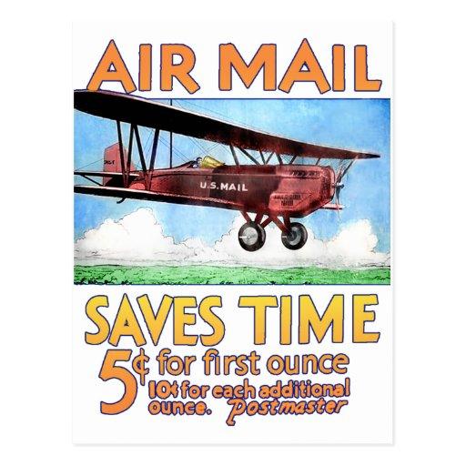 Air Mail Saves Time Postcard