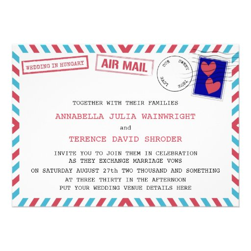 Air Mail Wedding In Hungary Invitations