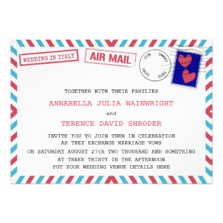 Air Mail Wedding In Italy Invitations
