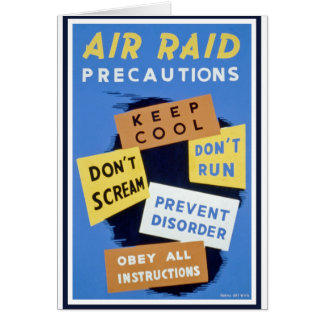 Air raid precautions sign (1943) greeting card
