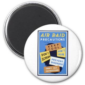 Air raid precautions sign (1943) 6 cm round magnet