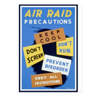 Air raid precautions sign 1943 postcards