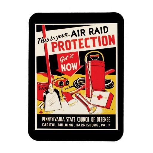 Air Raid Protection Rectangular Magnets