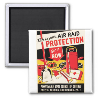 Air Raid Protection Square Magnet