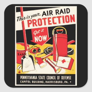Air Raid Protection Square Sticker