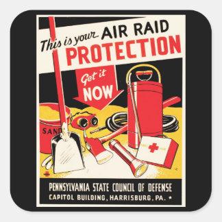 Air Raid Protection Square Sticker