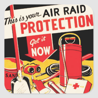 Air Raid Protection Square Stickers