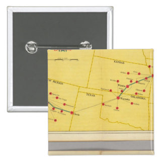Air Route from Los Angeles to Columbus 15 Cm Square Badge