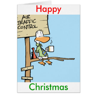 Air Traffic Control Cartoon Happy Christmas Card