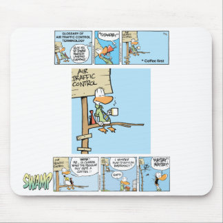 Air Traffic Control Coffee Cartoon Mouse Mats