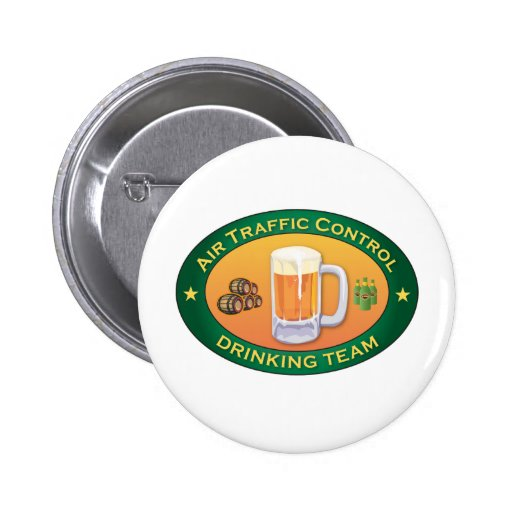 Air Traffic Control Drinking Team 6 Cm Round Badge