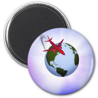 Air Travel 6 Cm Round Magnet