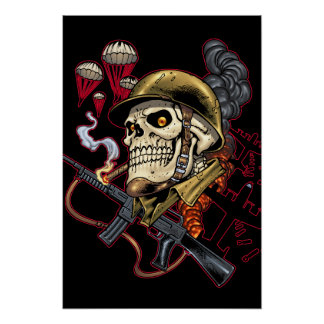 Airborne Marine Corps Parachute Skull by Al Rio Poster