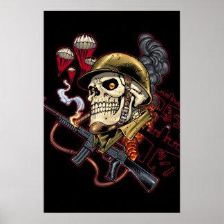Airborne Marine Corps Parachute Skull by Al Rio Print