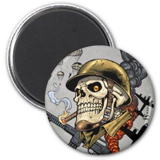 Airborne Military Skeleton Smoking a Cigar Bombers Fridge Magnets
