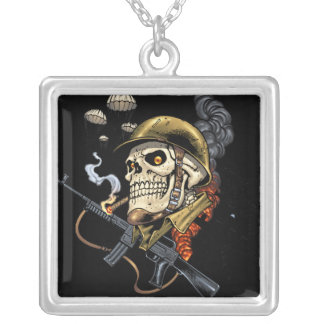 Airborne Military Skeleton Smoking a Cigar Bombers Custom Necklace