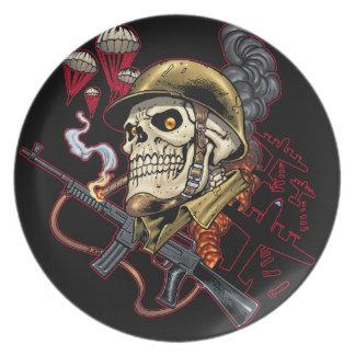 Airborne or Marine Paratrooper Skull with Helmet Dinner Plate