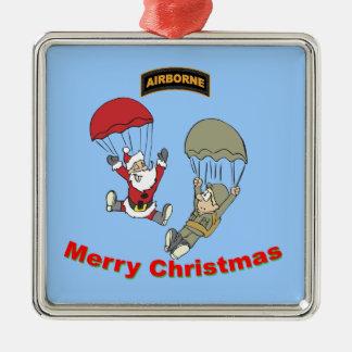 Airborne Santa II Silver-Colored Square Decoration