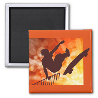 Airborne Skateboarder in Orange and Yellow Bokkeh Square Magnet