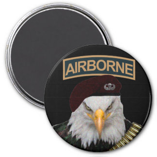 Airborne units bold eagle army style 7.5 cm round magnet