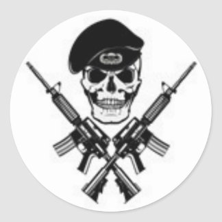 airborneskull round sticker