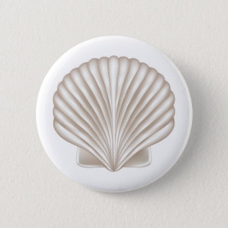 Airbrush Style Seashell 6 Cm Round Badge