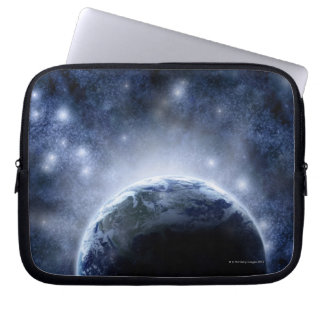 Airbrushed night sky full of stars around planet laptop computer sleeves