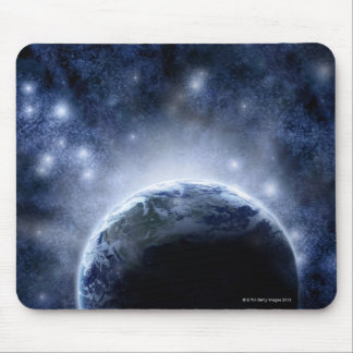 Airbrushed night sky full of stars around planet mouse pad