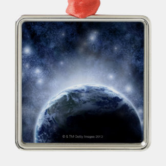 Airbrushed night sky full of stars around planet Silver-Colored square decoration