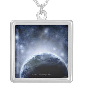 Airbrushed night sky full of stars around planet silver plated necklace