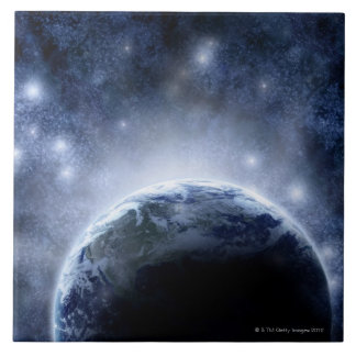 Airbrushed night sky full of stars around planet tile