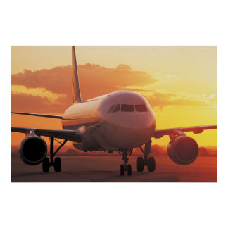 Airbus A320 - Backing on Sunset Print
