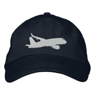 Aircraft Airliner Jet Silhouette Flying Embroidery Embroidered Hat