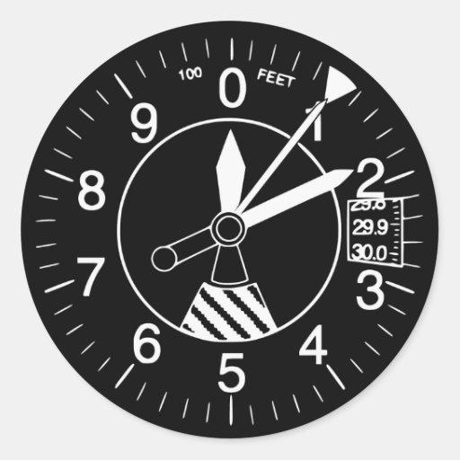 Aircraft Altimeter Gauge Round Stickers