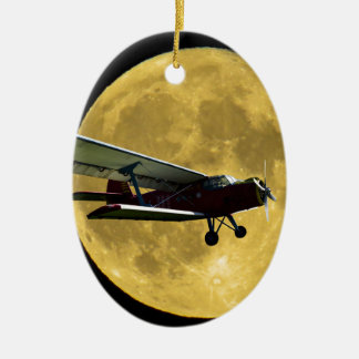 Aircraft and the moon ceramic oval decoration