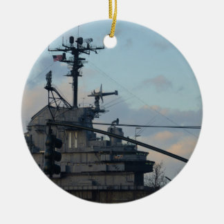 Aircraft Carrier In New York Christmas Ornament