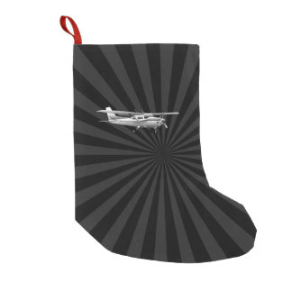 Aircraft Cessna Silhouette Flying Black Burst Small Christmas Stocking