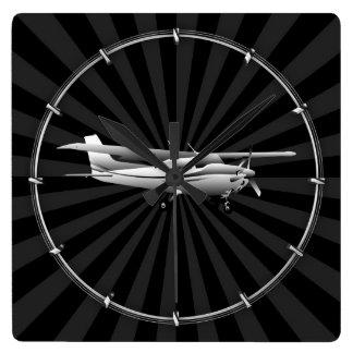Aircraft Cessna Silhouette Flying Sunburst Decor Square Wall Clock