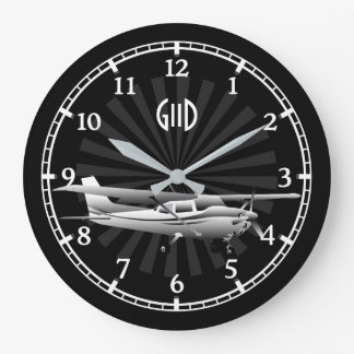 Aircraft Cessna Silhouette Sunburst Monogram on a Large Clock
