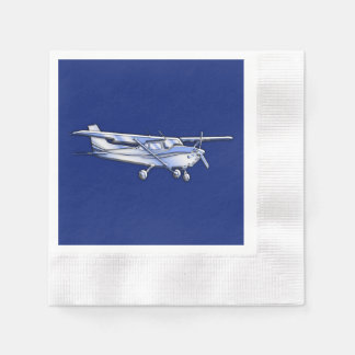 Aircraft  Chrome Cessna Silhouette Flying on Blue Paper Serviettes