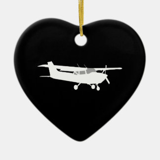 Aircraft Classic Cessna Silhouette Flying on Black Christmas Ornament