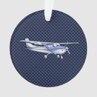 Aircraft Classic Chrome Cessna Blue Carbon Fiber Ornament