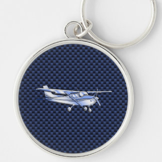Aircraft Classic Chrome Cessna Flying Carbon Fiber Silver-Colored Round Key Ring