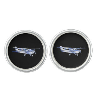 Aircraft Classic Silver Cessna Silhouette Flying Cufflinks