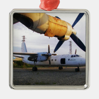 Aircraft graveyard in the east. christmas ornament