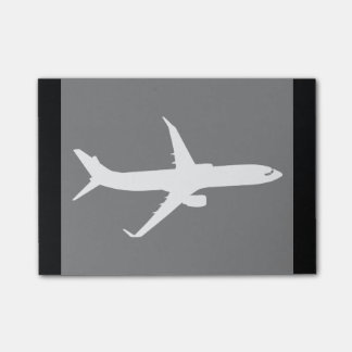 Aircraft Jet Liner Silhouette Flying Black Decor Post-it Notes