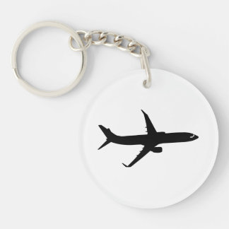 Aircraft Jetliner Shadow Flight Customize Color Double-Sided Round Acrylic Key Ring