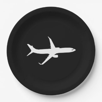 Aircraft JetLiner White Silhouette Flying Paper Plate