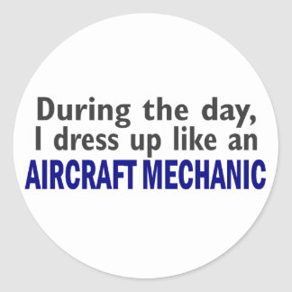 Aircraft Mechanic During The Day Classic Round Sticker