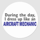 Aircraft Mechanic During The Day Round Stickers